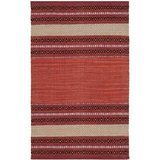 Safavieh Montauk Hand-Woven Red/ Ivory Cotton Accent Area Rug (2' 6 x 4')