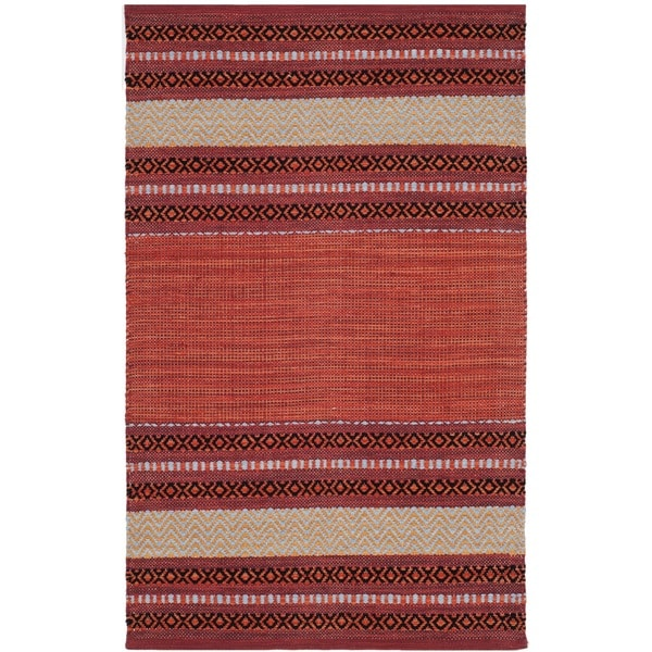 Safavieh Montauk Hand-Woven Red/ Ivory Cotton Accent Area Rug - 2'6 x 4'