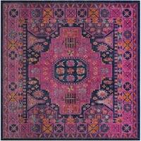 Safavieh Artisan Vintage Bohemian Blue/ Fuchsia Distressed Rug - 6' 7 Square