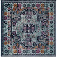 """Safavieh Artisan Vintage Bohemian Blue/ Multi Distressed Rug - 6'7"""" x 6'7"""" square"""