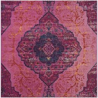 Safavieh Artisan Vintage Bohemian Fuchsia Pink/ Multi Distressed Rug (6' 7 Square)