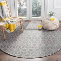 Safavieh Hand-Woven Cape Cod Grey / Gold Cotton Rug - 6' Round