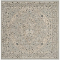 "Safavieh Evoke Vintage Oriental Medallion Light Grey / Cream Distressed Rug - 6'-7"" X 6'-7"" Square"