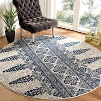 Safavieh Evoke Vintage Ivory / Royal Distressed Rug - 6'7 Round