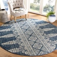 Safavieh Evoke Vintage Royal Blue/ Ivory Distressed Rug (6'7 Round)