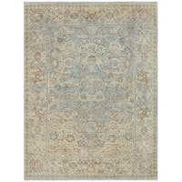 Avanti Blue/Tan Wool Damask Hand-knotted Area Rug (6' x 9') - 6' x 9'