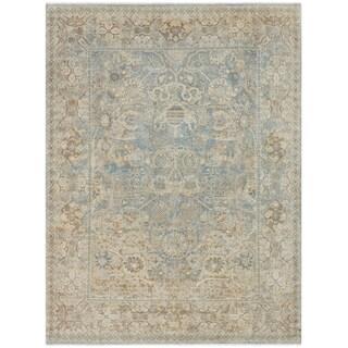 Avanti Blue/Tan Wool Damask Hand-knotted Area Rug (6' x 9') - 6' x 9'