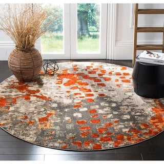 Safavieh Monaco Abstract Watercolor Grey / Orange Distressed Rug (5' Round)