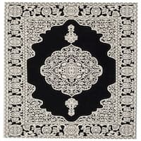 Safavieh Hand-woven Marbella Ornate Black/ Ivory Chenille Rug - 6' x 6' Square