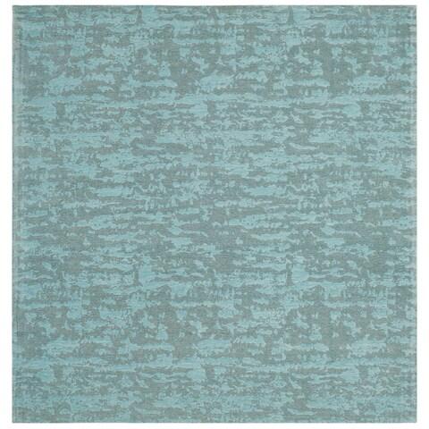 Safavieh Hand-Woven Marbella Flatweave Blue / Turquoise Chenille Rug - 6' x 6' Square