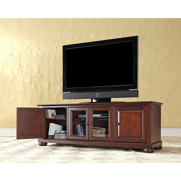 Alexandria 60-inch Low-profile Vintage Mahogany TV Stand. Opens flyout.