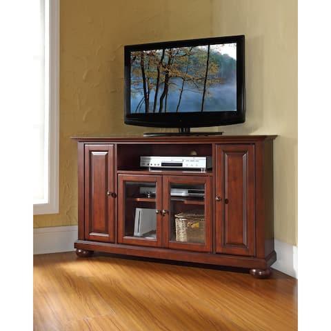 "Alexandria 48"" Corner TV Stand in Vintage Mahogany"