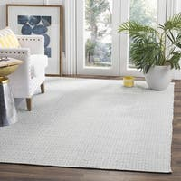 Safavieh Hand-Woven Montauk Flatweave Ivory / Light Blue Cotton Rug - 6' Square