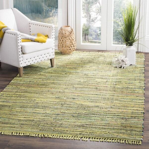 Safavieh Hand-Woven Rag Cotton Rug Light Green / Multicolored Cotton Rug - 6' Square
