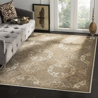 Safavieh Vintage Beige/ Cream Distressed Silky Viscose Rug (6' Square)