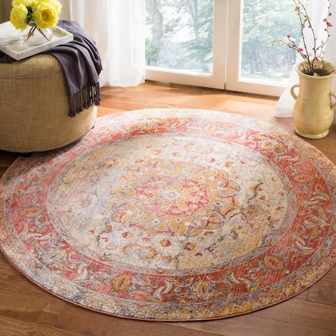 Safavieh Vintage Persian Saffron/ Cream Distressed Rug - 5' x 5' Round