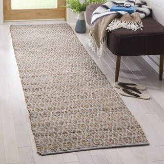 Safavieh Hand-Woven Cape Cod Silver / Natural Cotton Runner (2' 3 x 8')