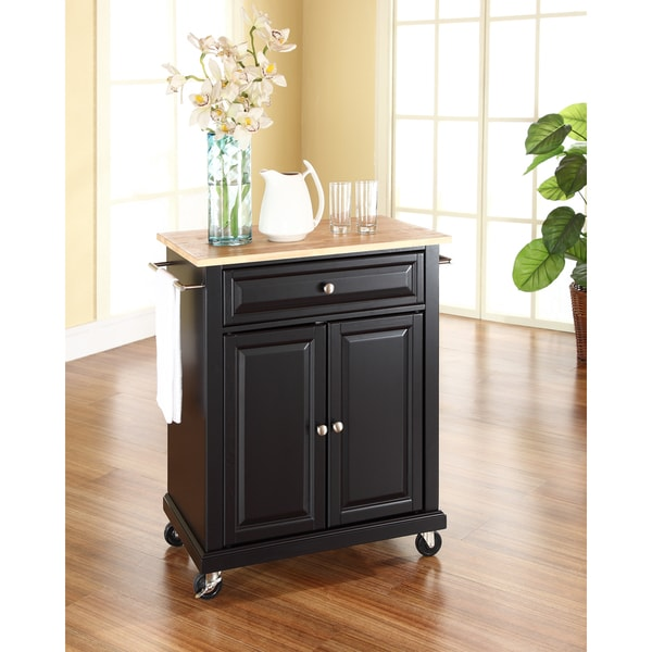 Crosley Furniture Black Wood Portable Kitchen Cart/Island with Natural Wood Top