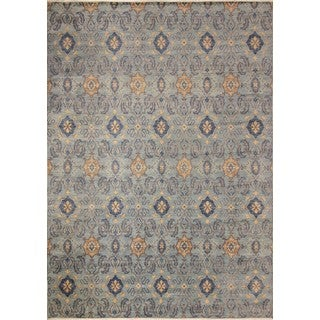 Fine Oushak Nadya Blue/Brown Wool Area Rug (9'11 x 13'9)