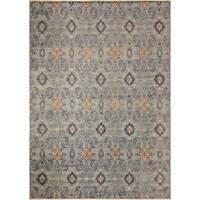 Fine Oushak Nadya Blue/Brown Wool Area Rug (9'11 x 13'9)