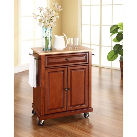 Natural Wood Classic Cherry Finish Top Portable Kitchen Cart and Island