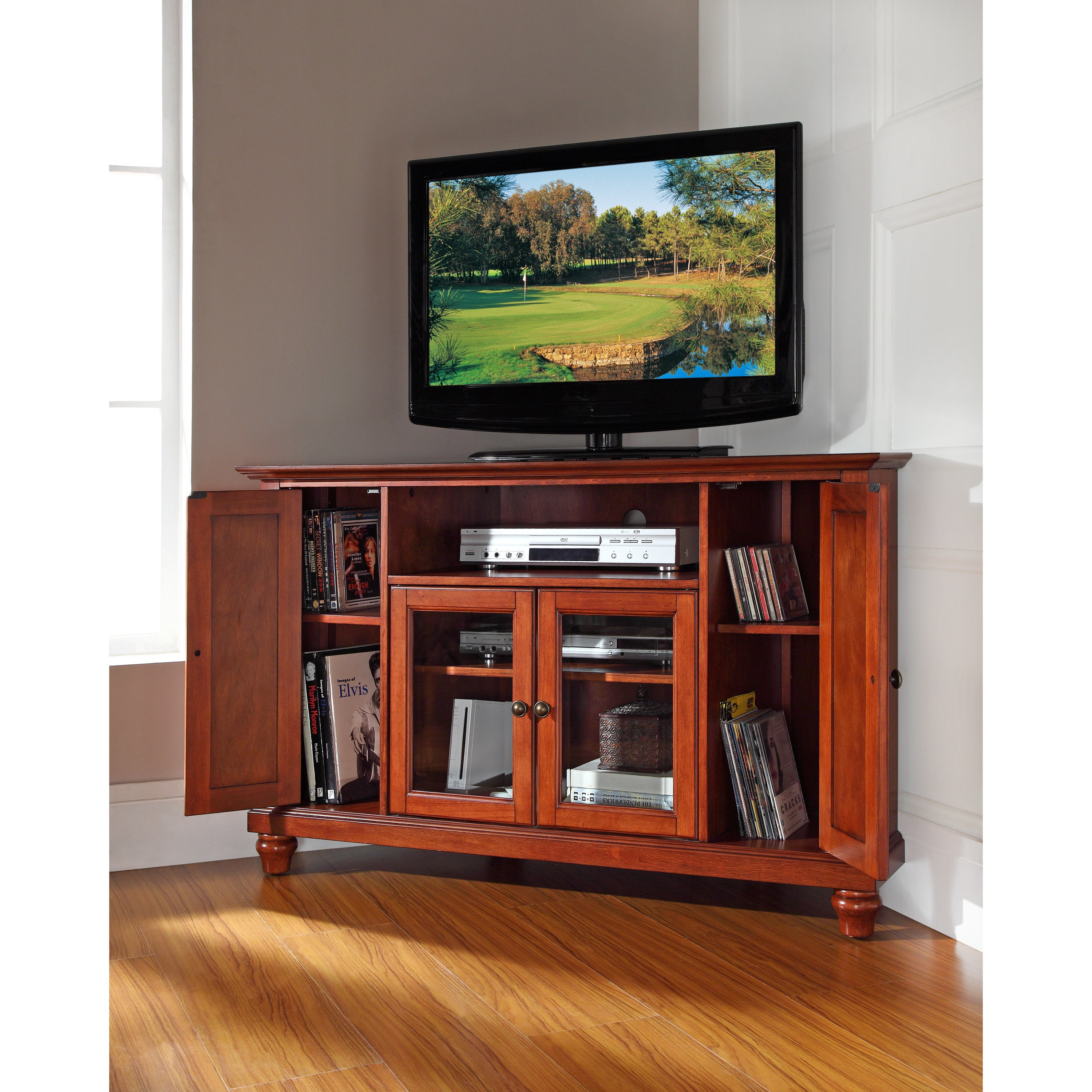 Shop Cambridge Cherry Finished Wood 48 Inch Corner Tv Stand Free