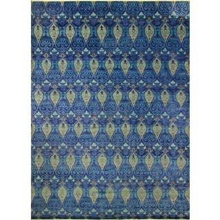Fine Oushak Nouhaila Ink Blue/Green Rug (10'0 x 14'0)