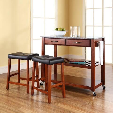 Cherry Wood/Granite Kitchen Cart/Island with Cherry Upholstered Saddle Stools
