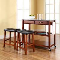 Crosley Furniture Cherry Wood/Granite Kitchen Cart/Island with Cherry Upholstered Saddle Stools