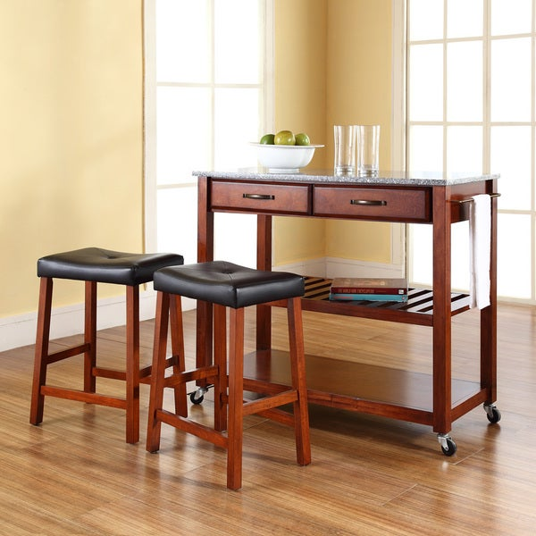 Cherry Wood/Granite Kitchen Cart/Island with Cherry Upholstered Saddle Stools