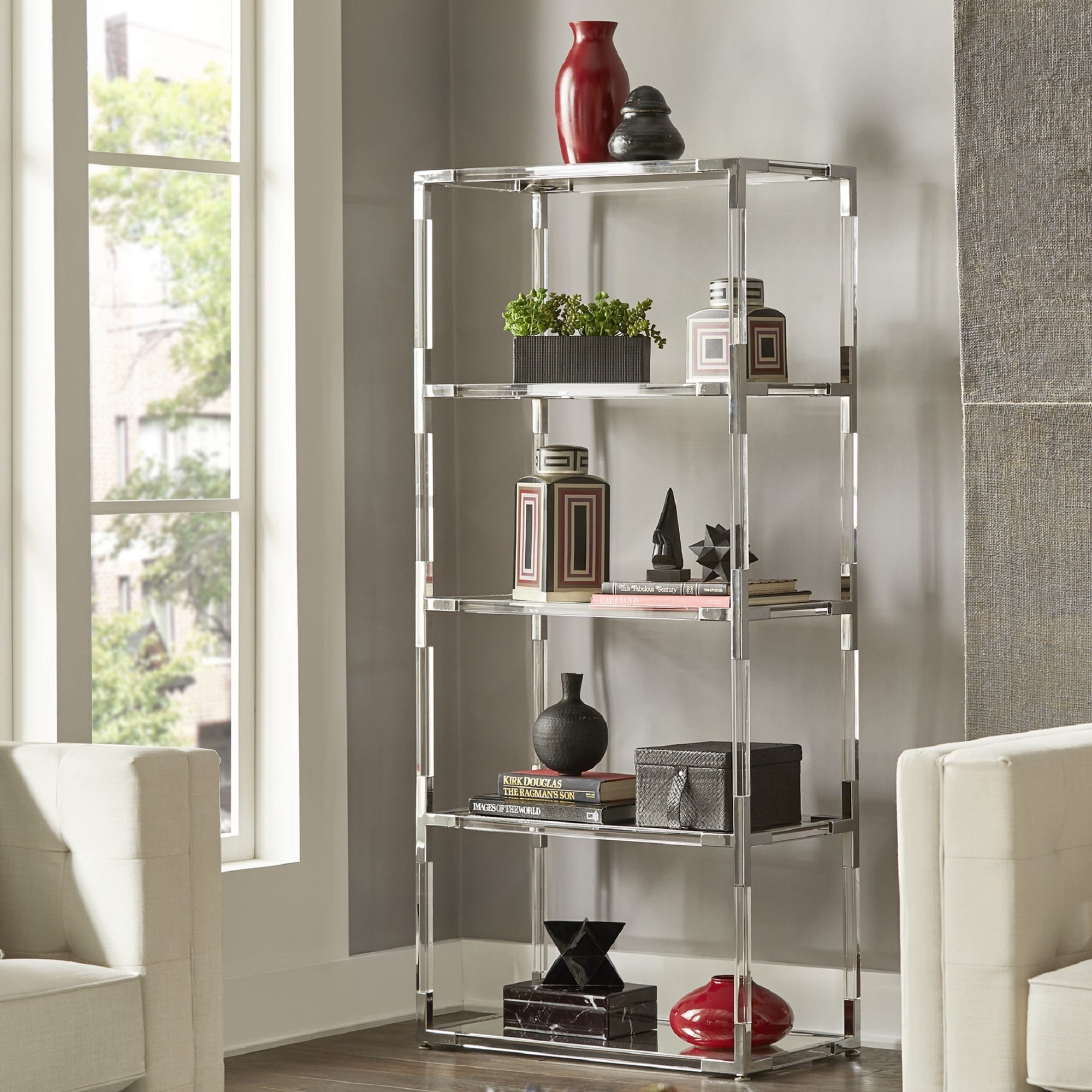 Cyrus Clear Chrome Corner Mirrored Shelf Bookcase by iNSP...