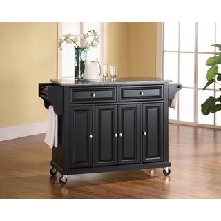 Black Solid Granite Top Kitchen Cart/Island