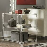 Cyrus Clear Chrome Corner Mirrored Shelf End Table by iNSPIRE Q Bold