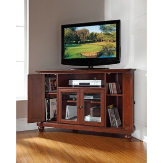Crosley Furniture Cambridge Wooden 48-inch Corner TV Stand in Vintage Mahogany Finish