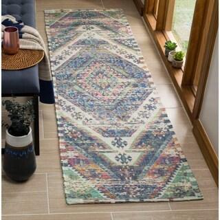 Safavieh Safran Handmade Blue/ Pink Cotton Runner Rug (2' 3 x 8')
