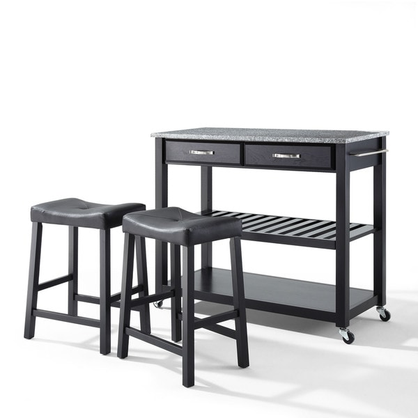 Carbon Loft Edwin Granite Top Black Kitchen Cart with Black Upholstered Saddle Stools - N/A