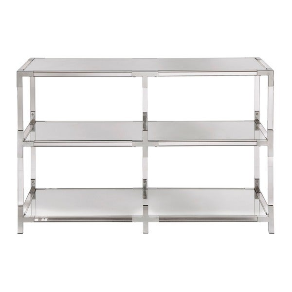 Cyrus Clear Chrome Corner Mirrored Shelf Sofa Table TV Stand by