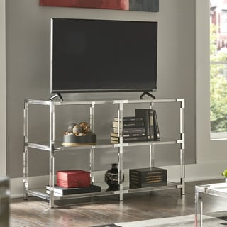 Cyrus Clear Chrome Corner Mirrored Shelf Sofa Table TV Stand by iNSPIRE Q Bold