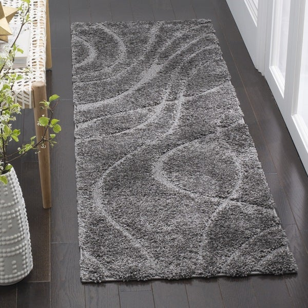 Safavieh Florida Ultimate Shag Contemporary Grey / Grey Shag Runner (2' 3 x 7')