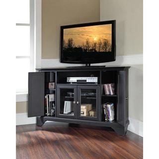 Crosley Furniture Lafayette Black Wood 48-inch Corner TV Stand