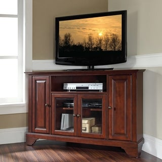 Crosley Furniture Lafayette Vintage Mahogany Finish Wood 48-inch Corner TV Stand