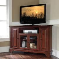 Crosley Furniture Lafayette Vintage Mahogany Finish Wood 48-inch Corner TV Stand