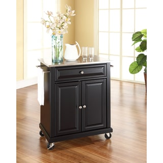 Crosley Furniture Black Wood and Stainless Steel Portable Kitchen Island