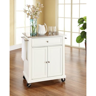 Crosley Furniture White Wood Portable Kitchen Cart/Island with Stainless Steel Top