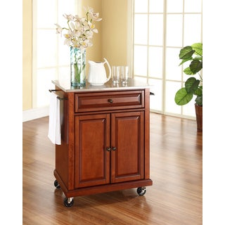 Crosley Furniture Cherry Brown Wood and Stainless Steel Portable Kitchen Island