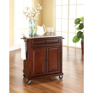Crosley Furniture Vintage Mahogany Finish Stainless Steel Top Portable  Kitchen Cart/Island