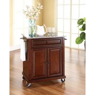 Crosley Furniture Vintage Mahogany Finish Solid Granite Top Portable Kitchen Cart and Island