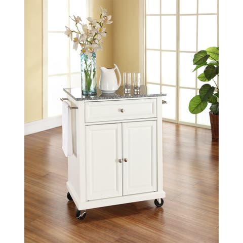 White Finish Solid Granite Top Portable Kitchen Cart/Island