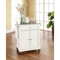 White Finish Solid Granite Top Portable Kitchen Cart/Island