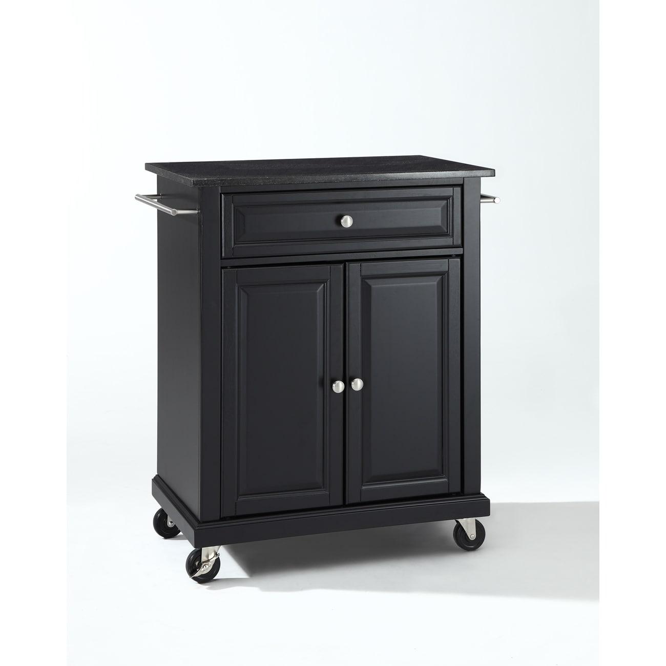 Solid Black Granite Top Portable Kitchen Cart/Island in Black Finish
